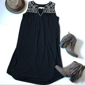 Ann Taylor Loft sleeveless embroidered black dress